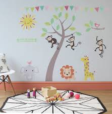 pastel jungle animal wall stickers by parkins interiors small size pink theme as shown direction