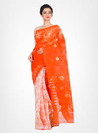 dhakai jamdani cotton silk handloom dhakai jamdani saree white orange