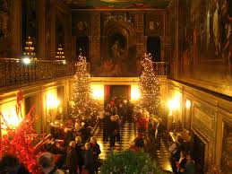 seasonal christmas decorations in the painted hall chatsworth