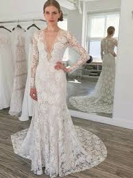 lace wedding dress with sleeves buy sheath v neck sleeves sweep lace wedding dress