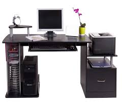 Large Black Computer Desk Black Computer Desk With A Large Draw Side Shelving Ideas Home