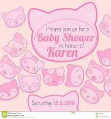 Babyshower Invitation Card Baby Shower Invitation Card Cat Theme Stock Vector Image 45621051