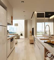 narrow kitchen sleek homely design luxurious and simple single