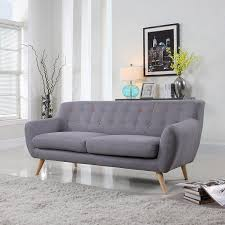 Sofa Mid Century Modern by Amazon Com Mid Century Modern Tufted Linen Fabric Loveseat In
