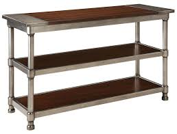 Metal Console Table Contemporary 2 Shelf Console Table With Plank Style Wood Top And
