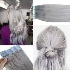 silver hair extensions seamless in skin weft remy human hair extensions silver gray