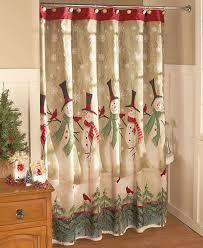 snowmen bathroom shower curtain holiday winter scene christmas
