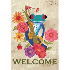 Welcome Flag Toland Trippy Tree Frog Welcome Flag Flagsrus Org