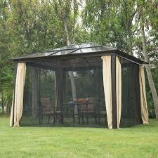 Gazebo Patio 12 X 10 Hardtop Gazebo Outdoor Patio Canopy With Mesh And Curtains