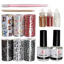 amazon com nail art tips design transfer foils kit adhesive top