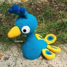 blue peacock handmade amigurumi crochet doll home decor birthday