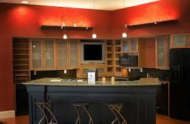 cherry kitchen cabinets brown varnished wood range hood natural