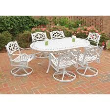 Agio Patio Dining Set by Home Styles Biscayne Black 7 Piece Swivel Patio Dining Set 5554