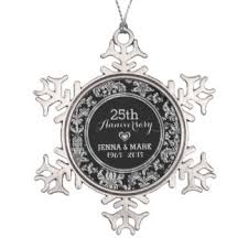 25th wedding anniversary christmas ornament 27 25th wedding anniversary pewter christmas ornaments zazzle ca