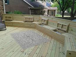 Outdoor Wood Bench With Storage Plans by Deck Plan With Built In Benches For Seating And Storage Free