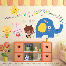 compare prices on music note paper online shopping buy low price cartoon animals elephant music notes wall decal home sticker paper art picture diy murals kids nursery