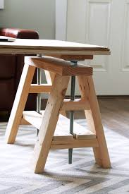 ana white build a modern indsutrial adjustable sawhorse desk to