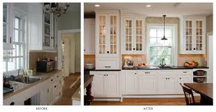 before and after kitchen remodel white painted cabinet metal
