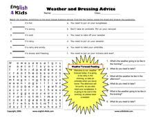 esl kids worksheets weather and clothes