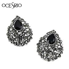 silver clip on earrings ocesrio black no ear earrings for woman jewelry
