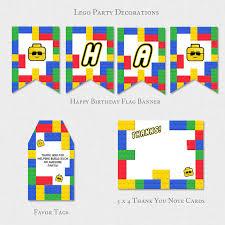 lego birthday party decoration building block boys decor thank