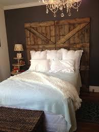 rustic barn door headboard brown stained log wood bed combined