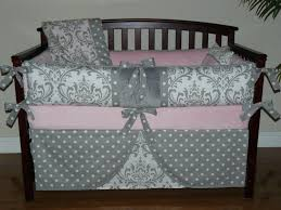 Gray And Pink Crib Bedding Baby Bedding Light Pink Gray Damask Crib Bedding 5pc