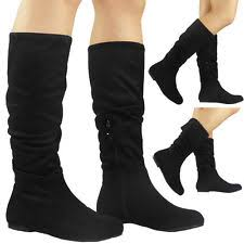 womens flat boots uk womens rouched fold mid calf boots flat faux