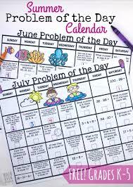 free summer math calendars for grades k 5