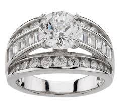 qvc wedding bands diamonique 100 facet 3 50 cttw ring platinum clad page 1 qvc