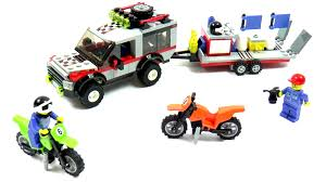 toy motocross bike lego city 4433 dirt bike transporter speed build and review youtube