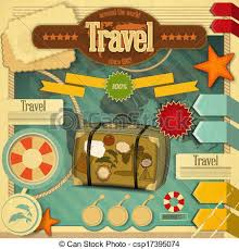 travel art images Summer vacation card in vintage style retro travel postcard with jpg