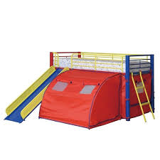 Coaster Kids Metal Twin Loft Bunk Bed With Slide And Tent - Twin loft bunk bed