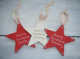 personalised shabby chic wooden star christmas tree decoration