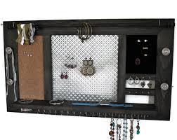 deluxe jewelry organizer wooden wall hanging jewelry shelf