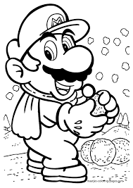 super mario throws snowballs coloring pages