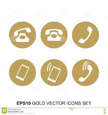 gold vector phone icons set stock vector image 75587443
