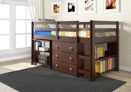 Bunk Beds Espresso Espresso Low Loft Bed With Desk Chest Bookshelf Rooms