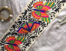 butterfly embroidery multicolour indian trim parsi embroidery