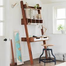 two sets of ladder desk for laptop a book arrangement brown