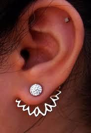 ear earrings womens floral ear jacket earring in gold or silver mybodiart