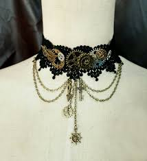 gothic steampunk necklace images Gothic steampunk victorian style gear cogs black lace choker goth jpg