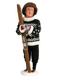 with skis caroler figurine by byers choice ltd