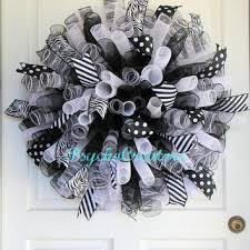 white deco mesh black white deco mesh wreath curly from psychocreators on etsy