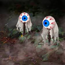 animated eyes pathway markers halloween props set of 2