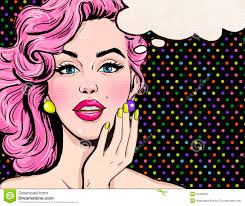 Hollywood Invitation Card Pop Art Illustration Of Woman With The Speech Bubble Pop Art