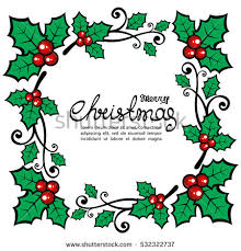 christmas holly border isolated on white stock vector 532322731