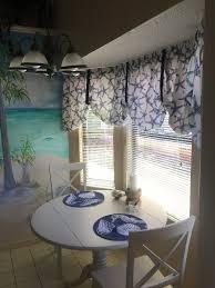 Window Tre Sea Shore Starfish Navy Blue Tie Up Valance Or Tier Curtain Window