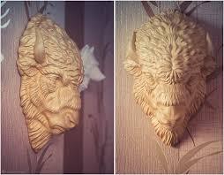 bison 3d model digital sculpture wood carved and silver pendant
