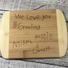 cutting board with recipe engraved bowls serving platters familylaser